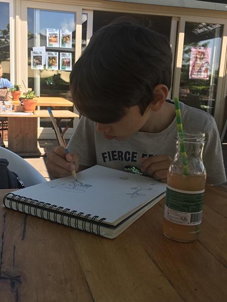Adam drawing a mushroom