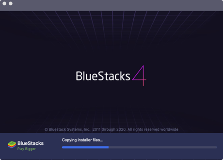 The BlueStacks 4 installer copying files