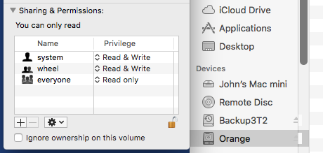 Ignore ownership on this volume disabled
