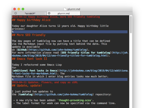 Emacs with highlight-regexp in Markdown mode showing blue bars