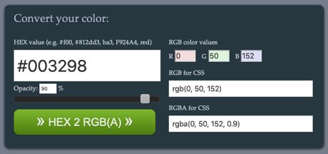 Devoth's HEX 2 RGBA Color Calculator