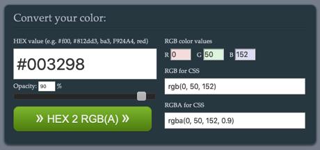 Devoth's HEX 2 RGBA Color Calculator