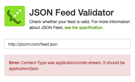 JSON Feed Validator showing Content-Type issue