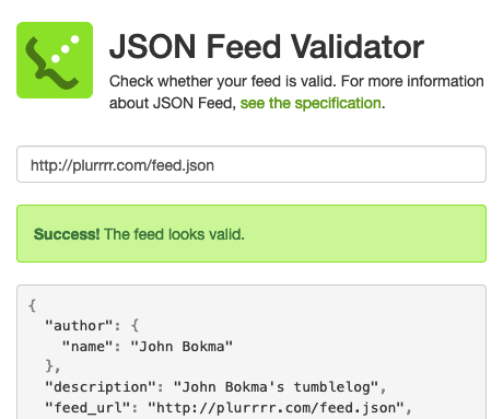 JSON Feed Validator success