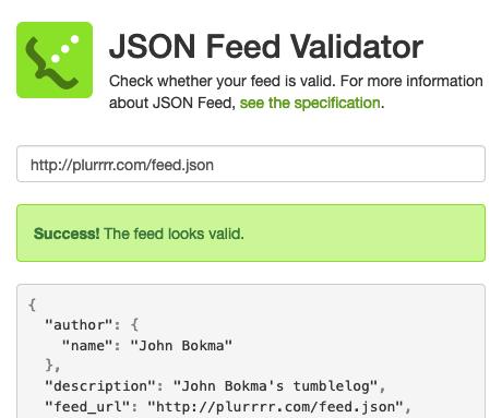 JSON Feed Validator success
