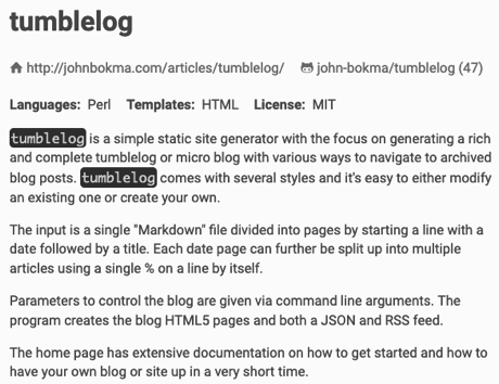 Description page for the Perl version of tumblelog