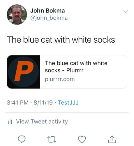Twitter card for a Plurrrr post